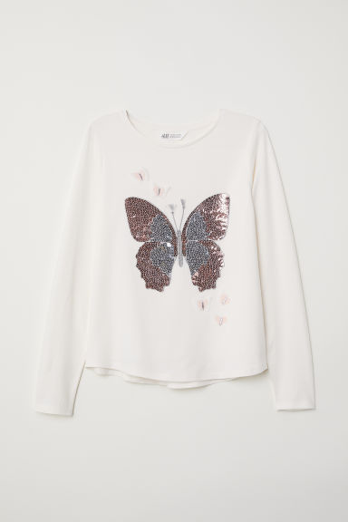 Jersey top with a motif - Natural white/Butterfly - Kids | H&M