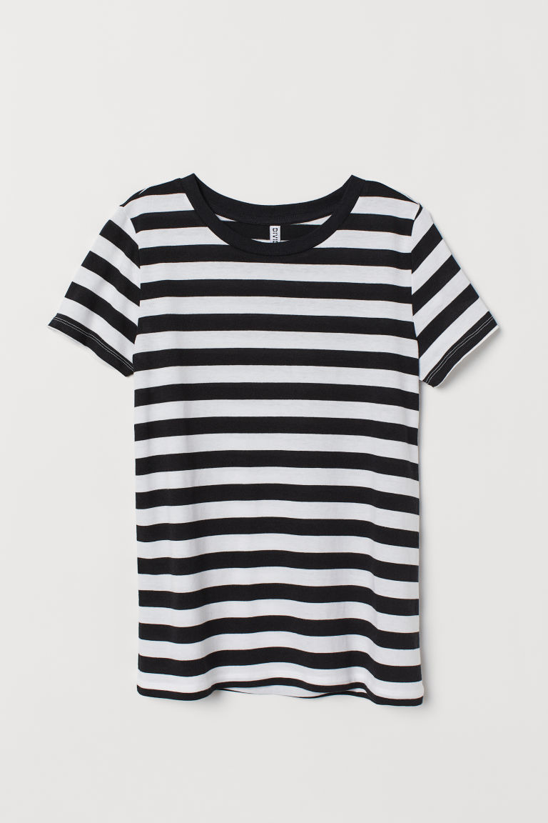 Jersey T-shirt - Black/White striped -  | H&M CN