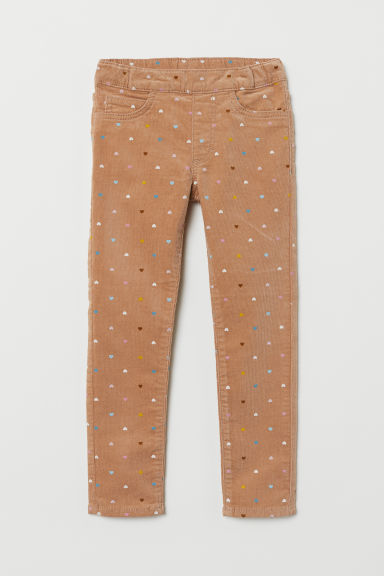 Corduroy treggings - Beige/Hearts - Kids | H&M
