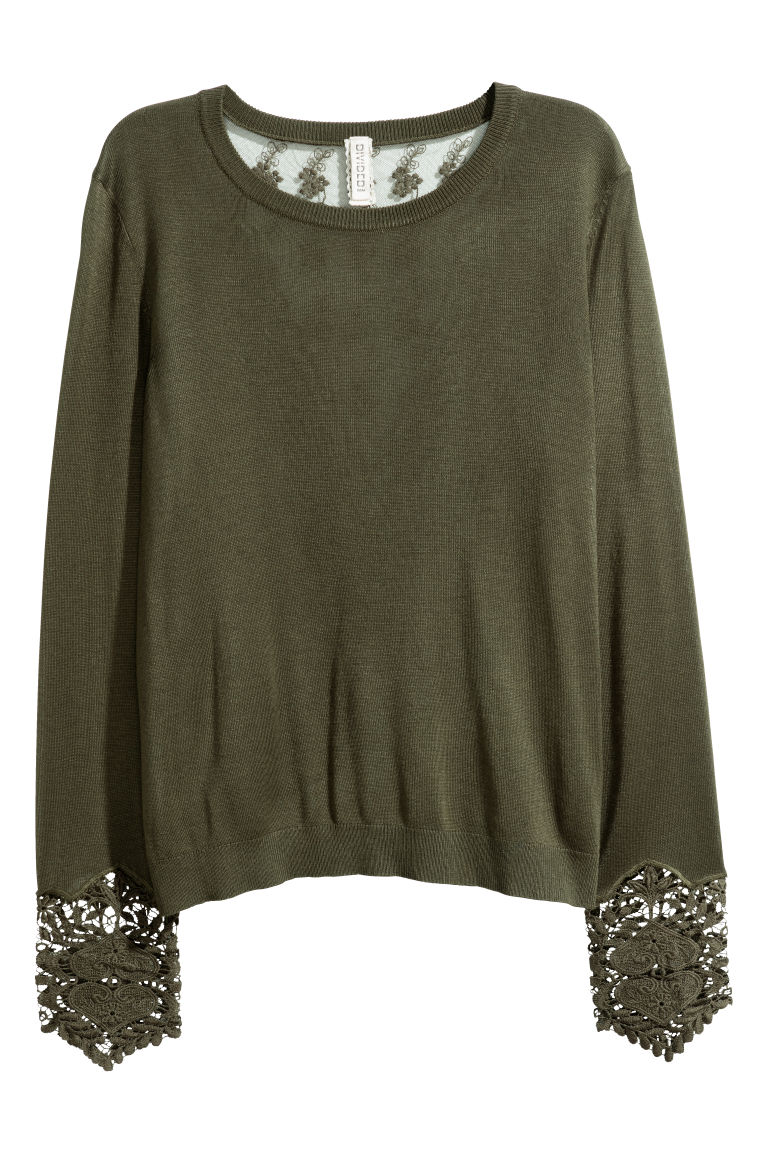 Jumper with lace details - Dark green -  | H&M