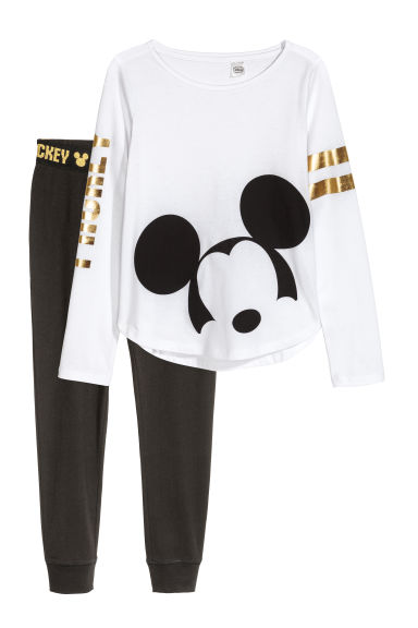 Tricot pyjama - Wit/Mickey Mouse -  | H&M NL