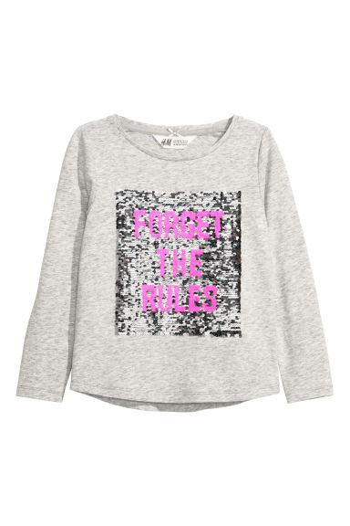 Top en jersey à motif pailleté - Gris/Forget the Rules -  | H&M CH