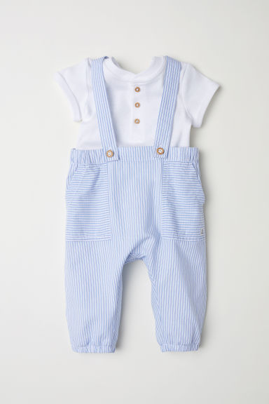 Cotton bodysuit and dungarees - Light blue/Striped - Kids | H&M CN