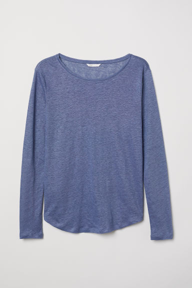 Linen top - Blue marl - Ladies | H&M