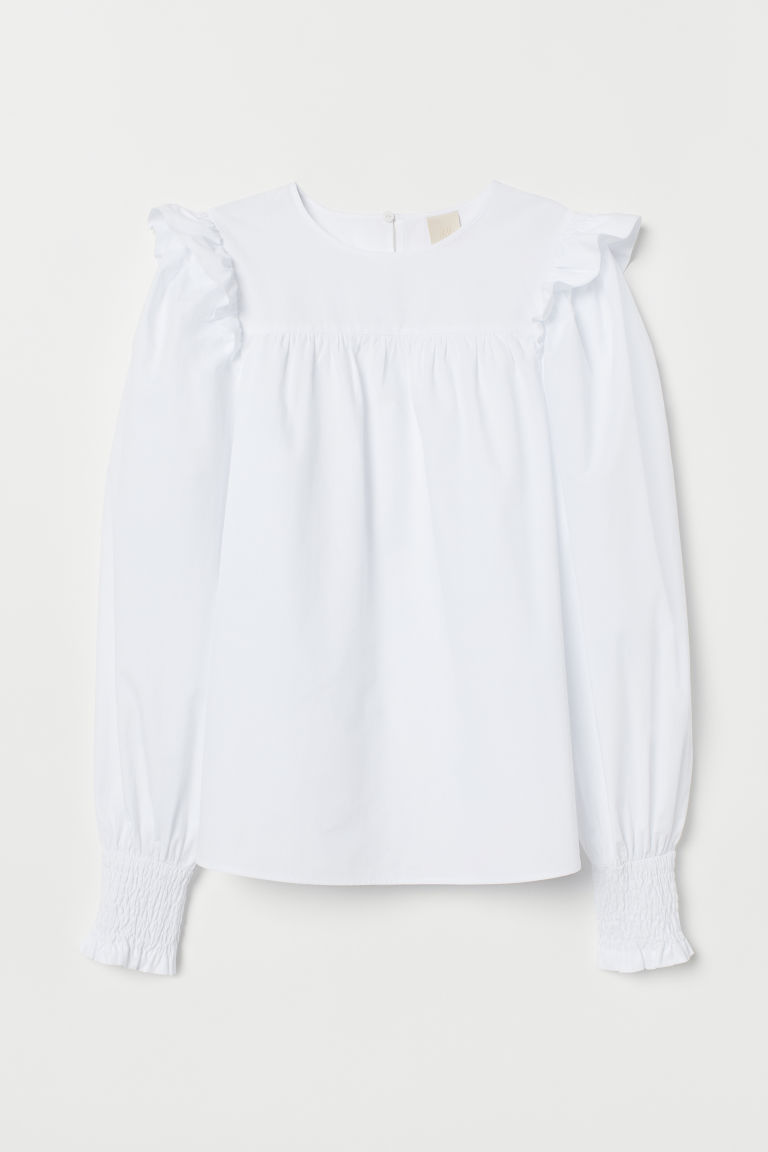 Frilled cotton blouse - White -  | H&M