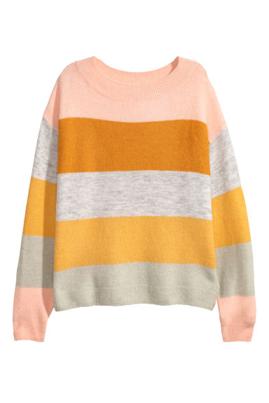 Fine-knit jumper - Apricot/Block-coloured - Ladies | H&M GB