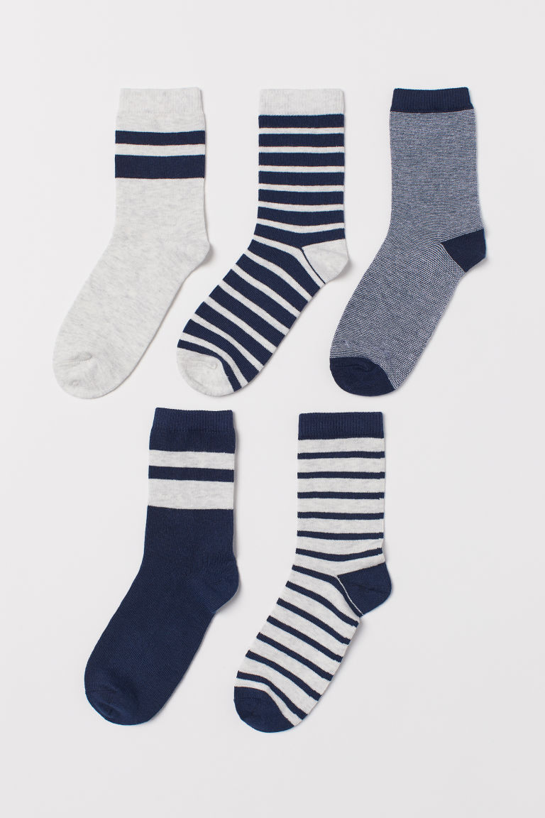 5-pack socks - Dark blue/Grey striped - Kids | H&M