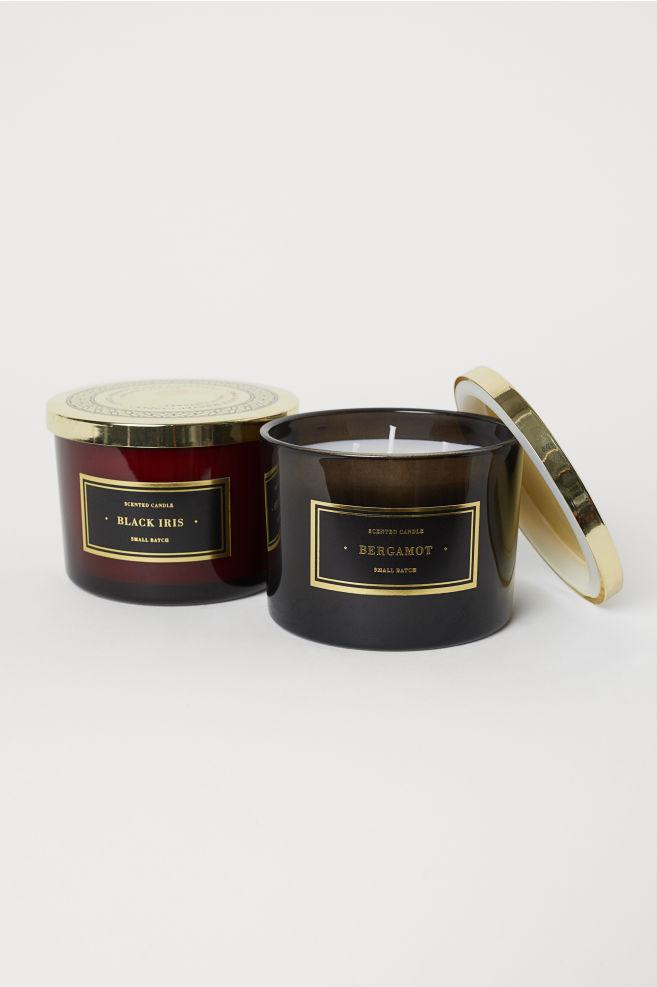 Stort doftljus i glasbehållare - Svart/Bergamot - Home All   H&M SE 2