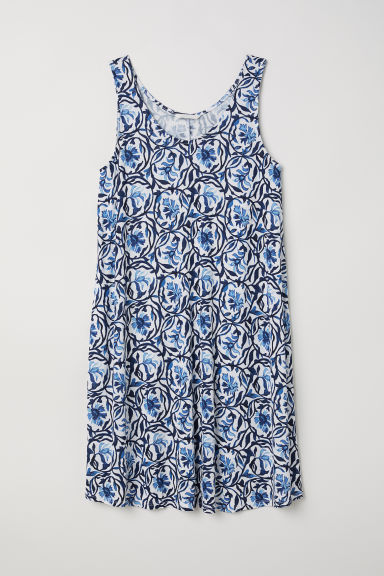 A-line jersey dress - White/Blue patterned -  | H&M CN