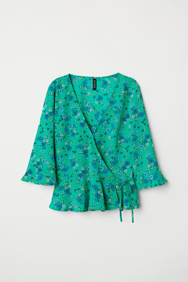 V-neck wrapover blouse - Green/Floral - Ladies | H&M CN