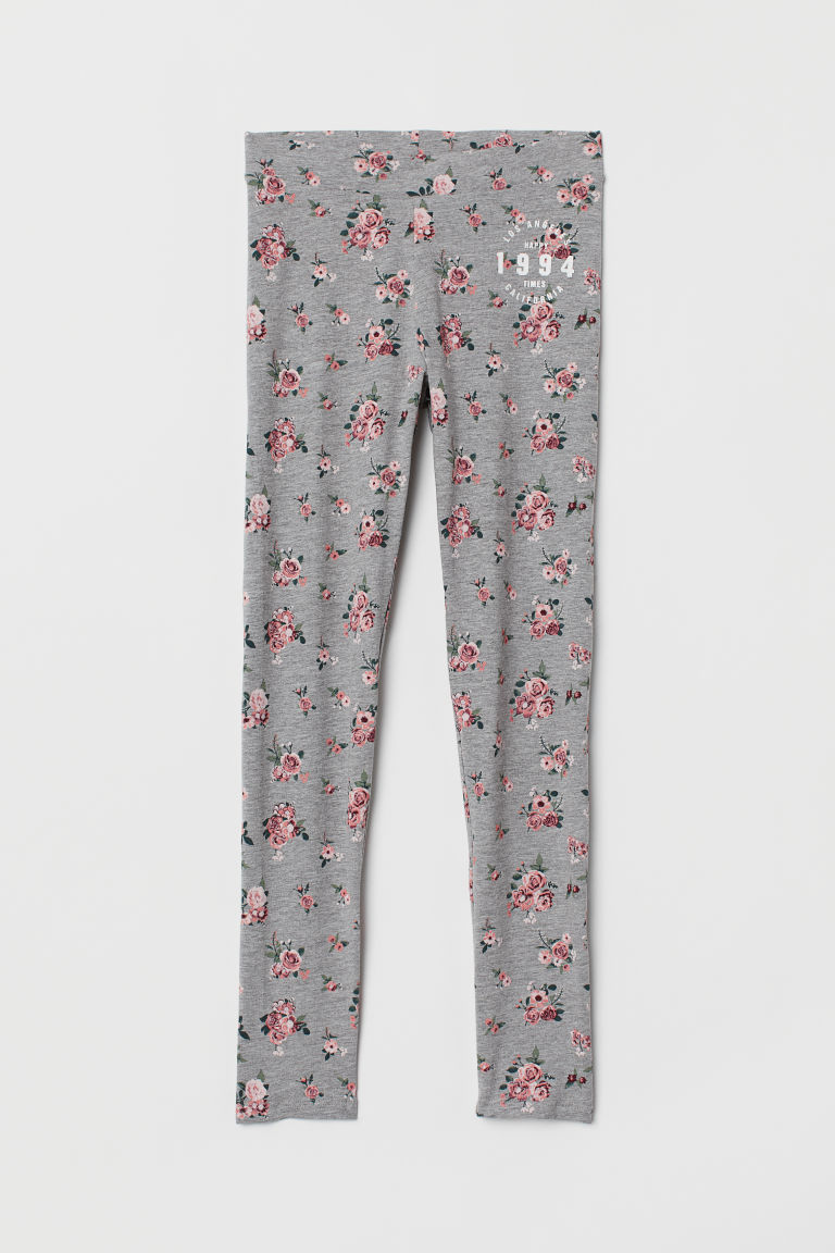 Printed jersey leggings - Grey marl/Floral - Kids | H&M IE