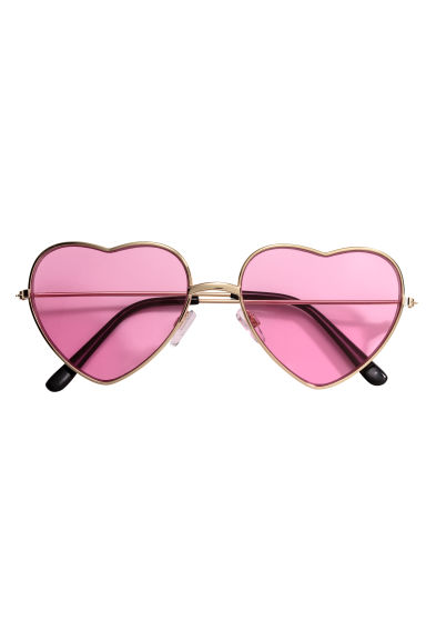 Heart-shaped sunglasses - Gold/Pink - Ladies | H&M