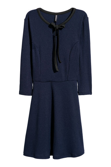 Ribbed jersey dress - Dark blue - Ladies | H&M
