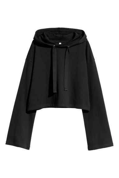 Short hooded top - Black -  | H&M GB
