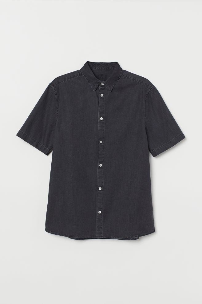 Slim Fit Denim Overhemd.Denim Overhemd Slim Fit Zwart H M Nl