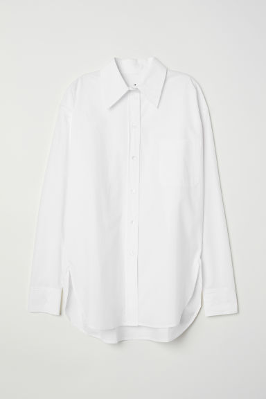 Oversized cotton shirt - White - Ladies | H&M CN
