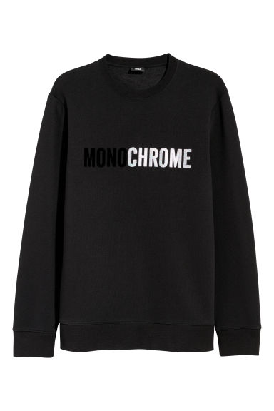 Sweatshirt with a motif - Black/Monochrome -  | H&M