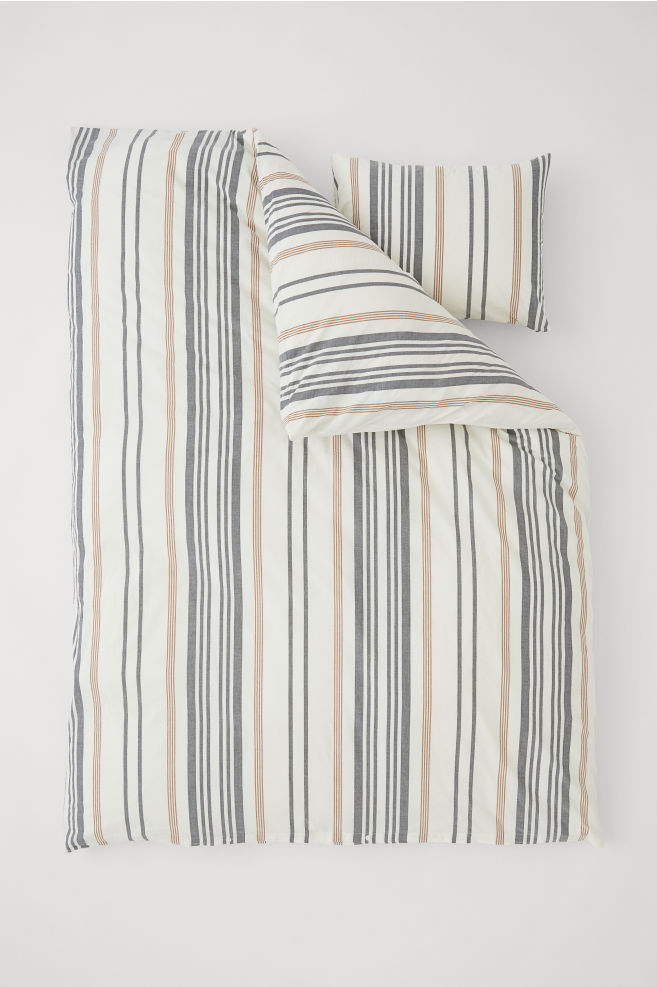Striped Duvet Cover Set Whitestriped Hm Ca