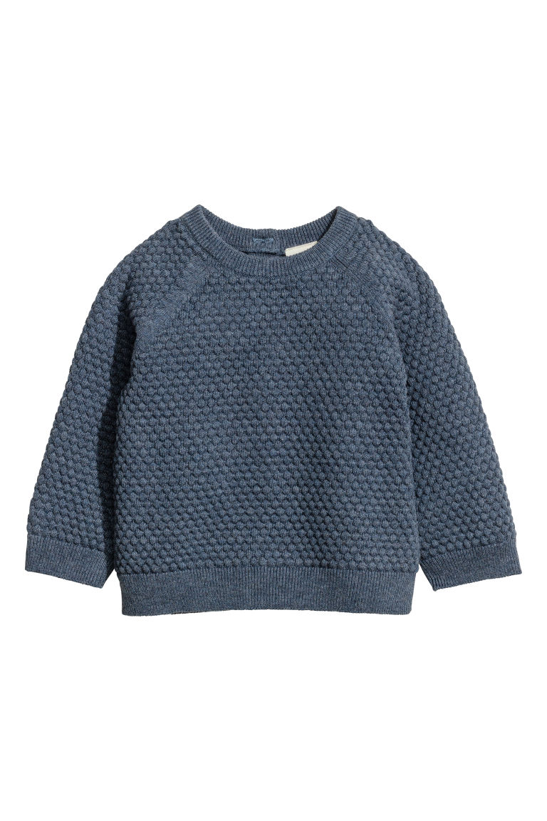 Textured-knit jumper - Blue marl - Kids | H&M CN