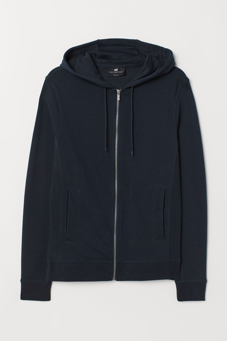 Hooded jacket Slim Fit - Dark blue - Men | H&M GB