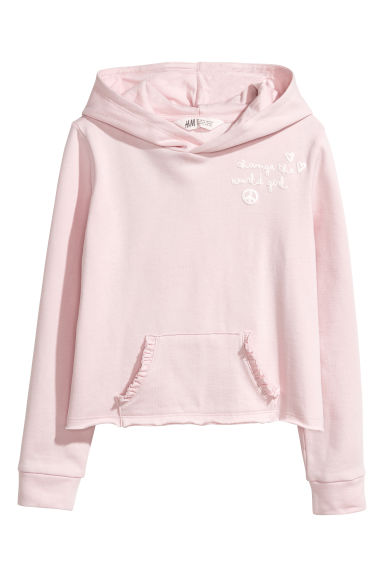 Hooded top with motif - Light pink -  | H&M CN