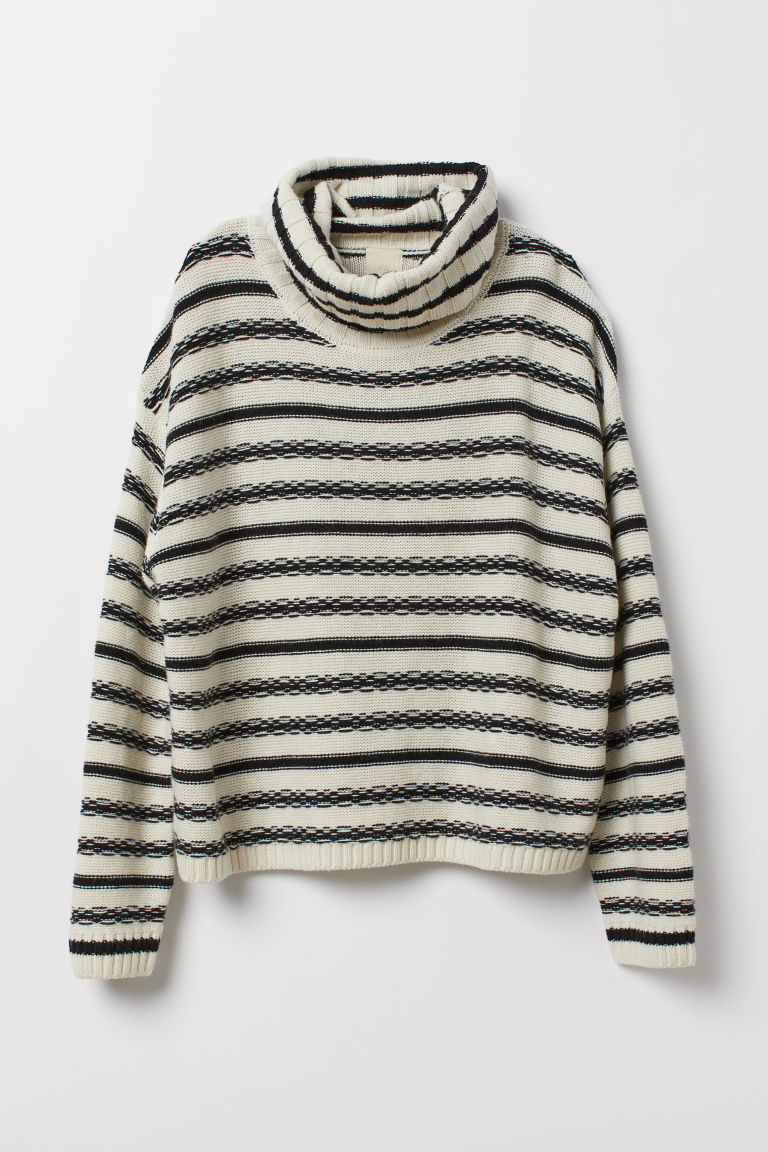 Wool-blend polo-neck jumper - Natural white/Black striped - Ladies | H&M