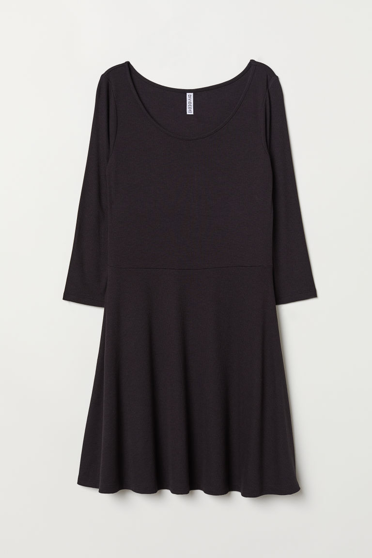 Ribbed jersey dress - Black -  | H&M CN
