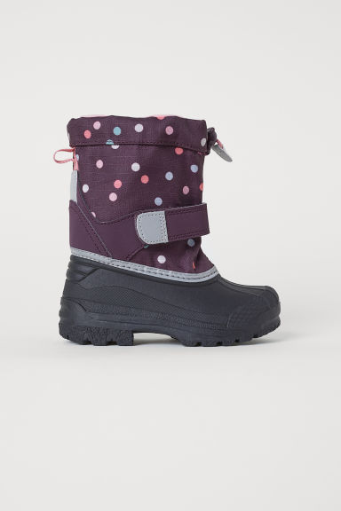 Fleece-lined boots - Purple/Spotted -  | H&M