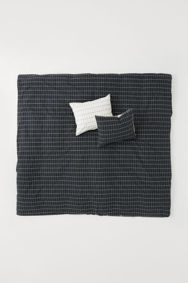 Cotton duvet cover set - Dark grey/Checked - Home All | H&M CN