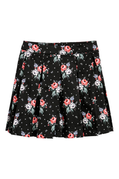 Gonna a pieghe - Nero/fiori -  | H&M IT