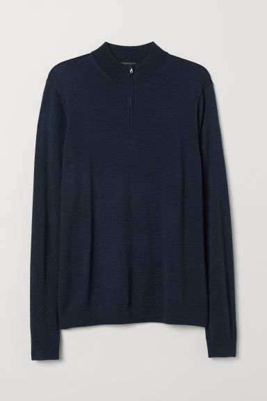 Merino wool-blend jumper - Dark blue - Men | H&M