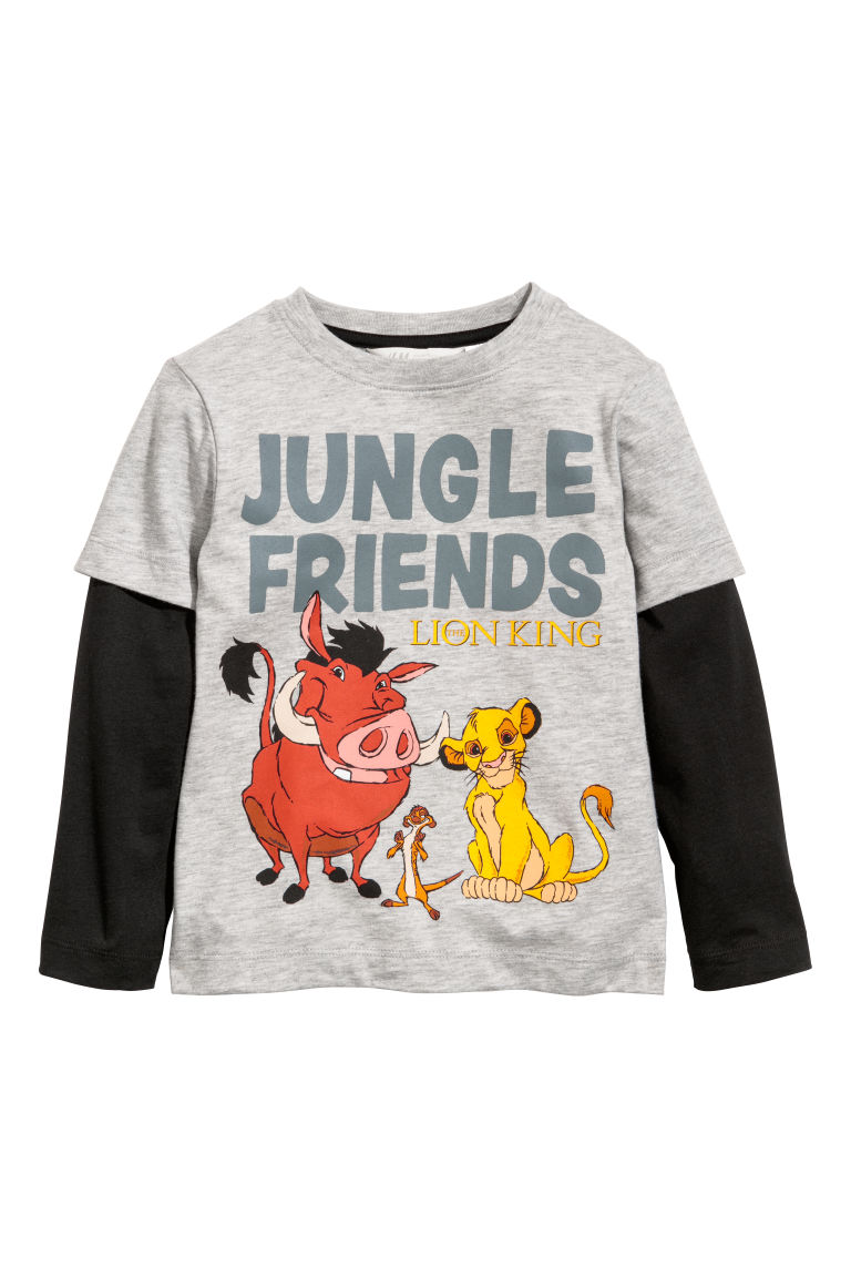 Jersey top - Grey marl/The Lion King - Kids | H&M