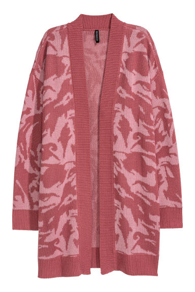 Jacquard-knit cardigan - Dark powder pink/Patterned -  | H&M