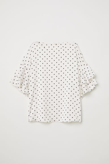 Blouse with flounced sleeves - White/Black spotted -  | H&M