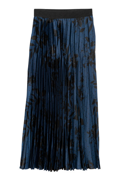Pleated satin skirt - Blue/Patterned - Ladies | H&M GB