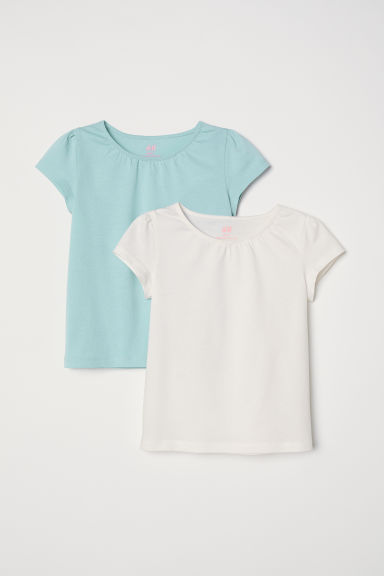 2-pack jersey tops - Light turquoise/White - Kids | H&M