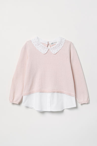 Fine-knit jumper with a collar - Light pink - Kids | H&M CN