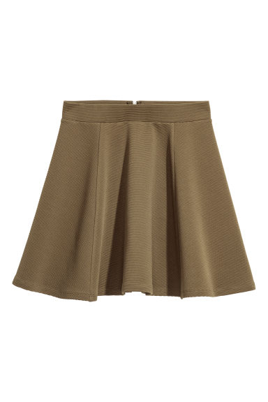 Circular skirt - Khaki green/Textured -  | H&M