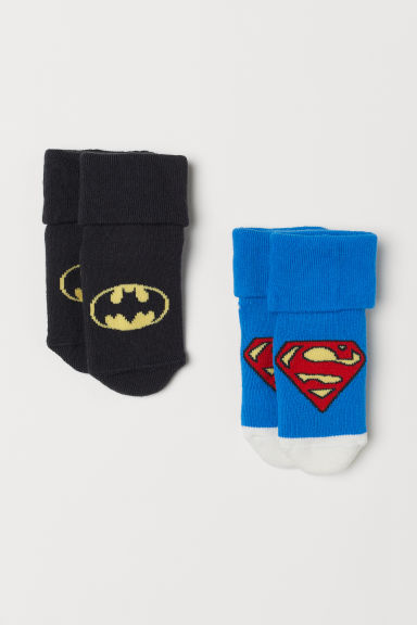 2-pack terry socks - Blue Superman/Black Batman - Kids | H&M CN