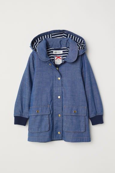 Parka with a hood - Dark blue/Chambray -  | H&M
