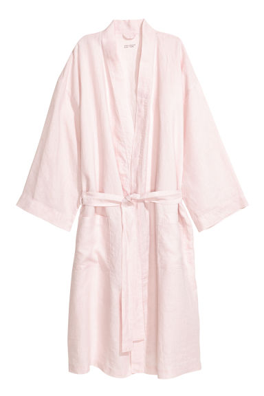 Washed linen dressing gown - Light pink - Home All | H&M CN