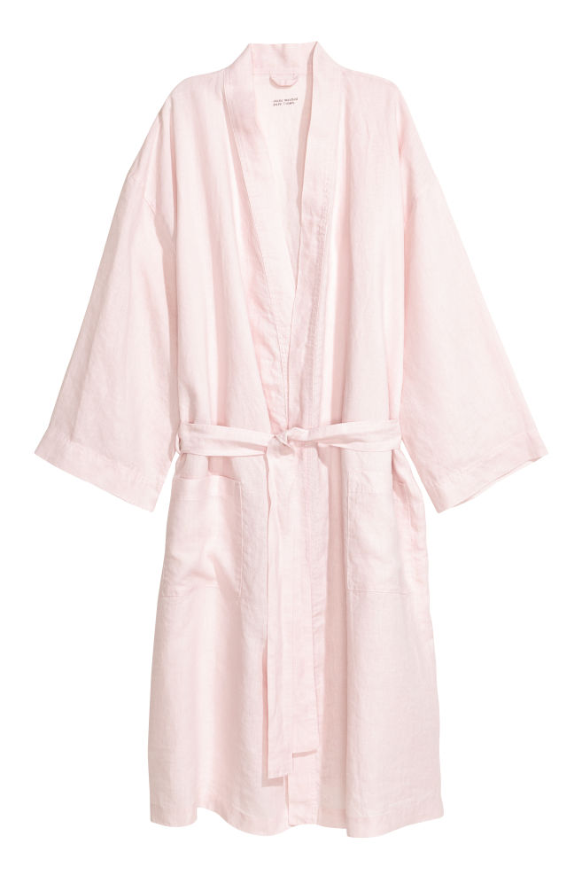 ea394fc835 Washed linen dressing gown - Light pink - Home All