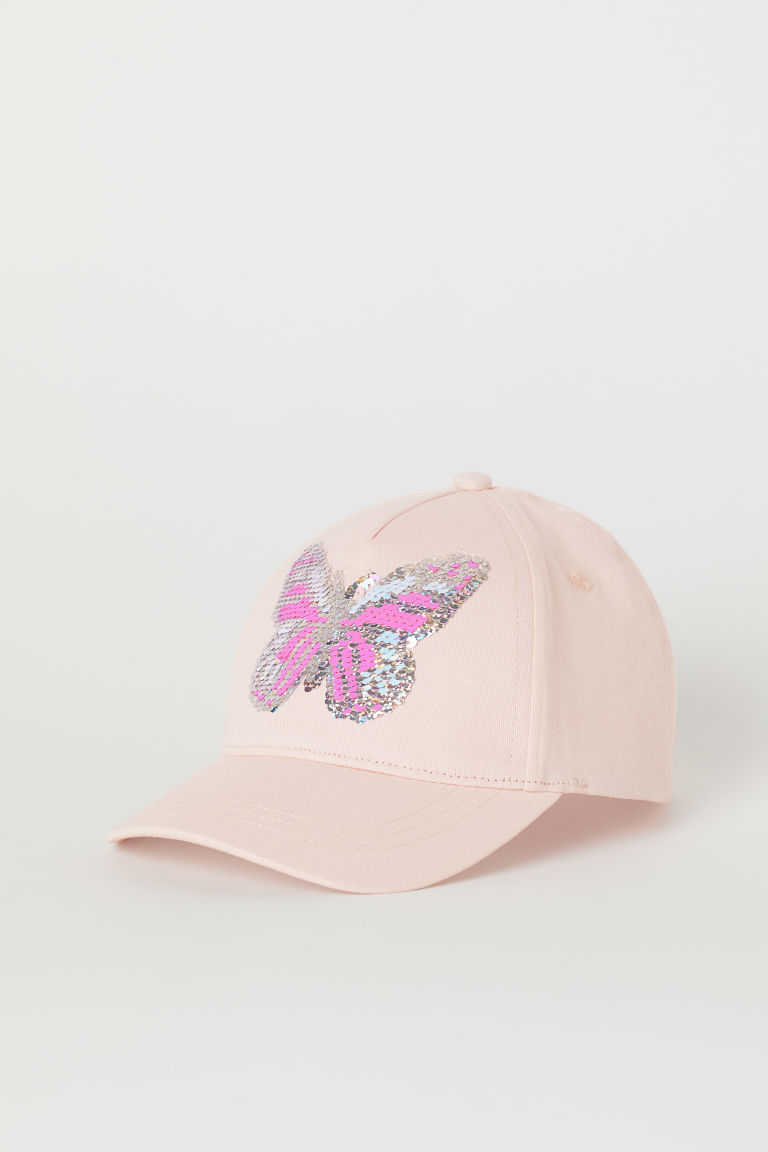 Cap with an appliqué - Powder pink/Reversible sequins - Kids | H&M
