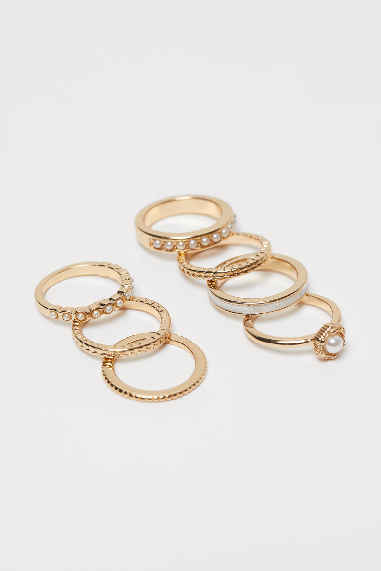 7-pack Rings - Gold-colored/beads - Ladies | H&M CA