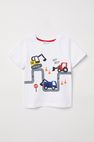 Printed T-shirt - White/Roadworks - Kids | H&M