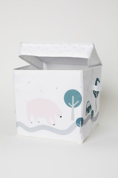 Storage box with a lid - White/Bear - Home All | H&M CN