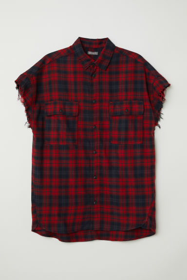 Short-sleeved flannel shirt - Red - Men | H&M