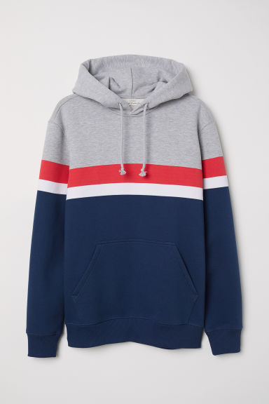 Block-patterned hooded top - Grey marl/Multicoloured - Men | H&M CN