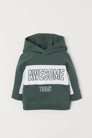 Cotton hooded top - Khaki green/Awesome - Kids | H&M CN