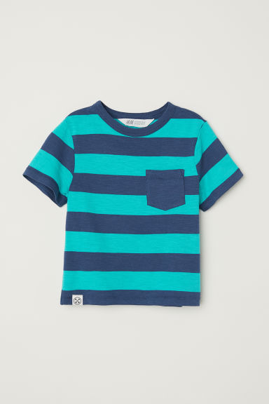 T-shirt with a chest pocket - Dark blue/Green striped -  | H&M